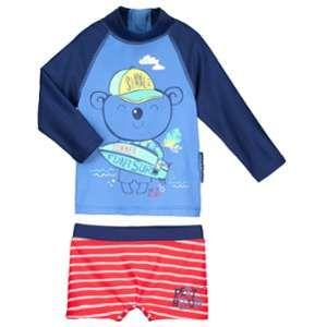 Petit Béguin Maillot de bain ANTI-UV 2 pièces t-shirt & boxer bébé garçon Happy Summer - Bleu, Taille 36 mois (98 cm)