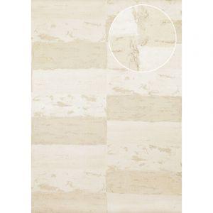 Atlas Papier peint aspect pierre carrelage ICO-2705-1 papier peint intissé lisse avec un dessin nature satiné blanc beige-gris or 7,035 m2