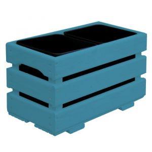 Jardinière pour 2 pots - 43 x 23 x 26 cm - Bleu - Jardinière - En bois Pin massif - Peinture lasure bleue - Dimensions : 43 x 23 x 26 cm