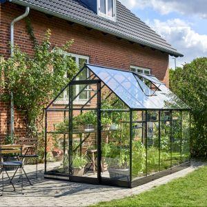 Halls Serre de jardin 6,4m² noire en verre trempé Qube
