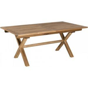 Table rectangulaire pieds croisés extensible teck m if clair Eve 180 240 cm