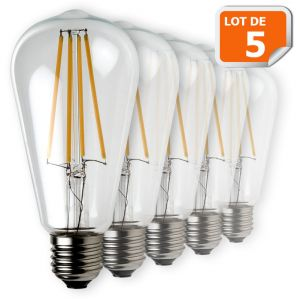 Lampesecoenergie Lot de 5 Ampoules Led Filament ST64 Style Edison Teardrop 7 watt (eq.52 watt) Culot E27