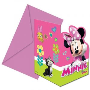 6 invitations avec enveloppes Minnie Happy
