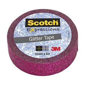 Scotch Ruban masking tape Expression - 15 mm x 5 m - pailleté rose