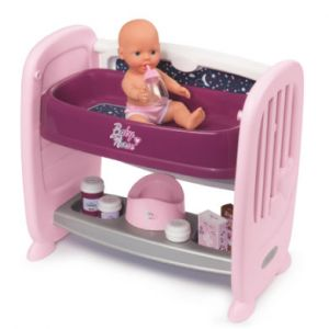 Smoby 220353 - Baby Nurse -Co Dodo 2 en 1 - Lit Co Dodo + Table à Langer - 14 Accessoires Inclus + 1 Poupon Fonction Pipi