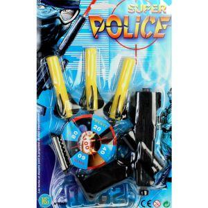 Bg Set police : pistolet et 3 fléchettes en mousse