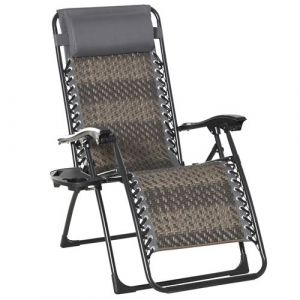 Outsunny Chaise longue pliable de jardin zéro gravité plateau porte gobelet accessoires tétière acier résine tressée gris 65x70x110cm Gris