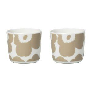 Marimekko Tasse à café Unikko / Sans anse - Set de 2 blanc,beige en céramique