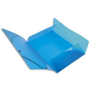 Exacompta Chemise 3 rabats et élastique IDERAMA en polypropylène 5/10e. Coloris bleu