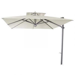Pegane Parasol décentré Laterna Naturel anti-UV inclinable carré 300x300cm