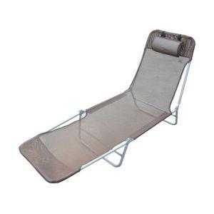 Homcom Chaise longue pliante bain de soleil inclinable transat textilene lit jardin plage chocolat 37