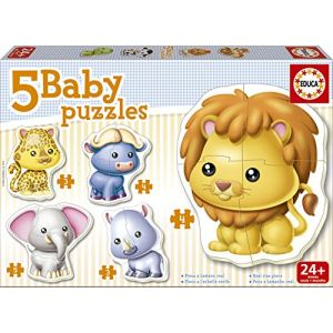 Educa 5 Baby Puzzles : Animaux sauvages