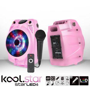 Koolstar Enceinte karaoké mobile à LEDs RVB - USB/BLUETOOTH + Micro filaire + Tél - Couleur Rose