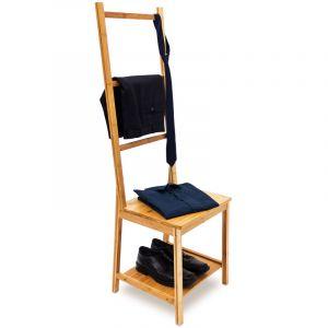 Relaxdays Chaise porte-serviettes porte-vêtements bambou Étagère avec assise 3 barres HxlxP : 133 x 40 x 42 cm salle de bain chambre, nature