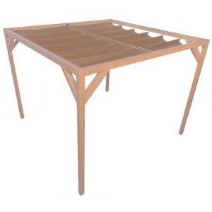 Nesling Pergola autoportante bois douglas toile sable 3 x 2,9 m