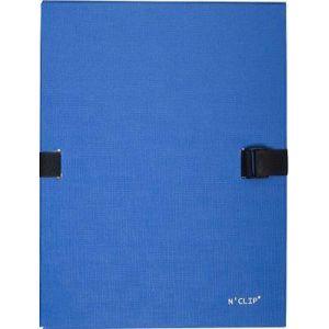 Exacompta 21503E - Chemise à dos extensible avec rabat N'CLIP, papier toilé vernis, coloris bleu