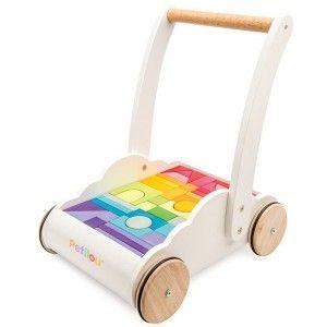 Le Toy Van Chariot de marche et cubes en bois Trotteur Nuage & Arc en Ciel - Jouets en bois