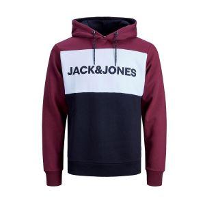 Jack & Jones Sweat à capuche logo Blocking Bordeaux - Taille L;M;S;XL;XS;XXL