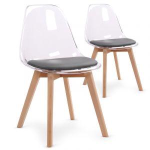 Stanley Lot de 2 chaises scandinaves Bovary Plexi Gris
