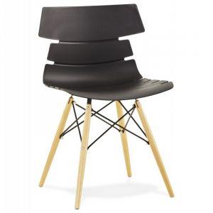 Kokoon Design Chaise scandinave avec pieds en hêtre STRATA (NOIR)