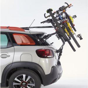 Mottez Porte-vélos sur Hayon à Fixation sur Barres de toit ou barre Railing 3 vélos avec antivol - Crabots pour réglage rapide - 4 patins protéger la carrosserie - 2 embouts réfléchissants