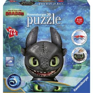 Ravensburger Dragons 3 Ohnezahn mit Ohren 3D Puzzle-Ball 11145
