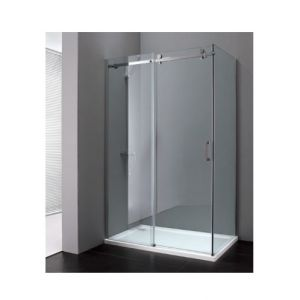 Fashion manufacturer Paroi de douche coulissante accès d'angle + paroi fixe latérale 120x80x200cm avec verre transparent 8mm EPONA - DEGEO SELECTION