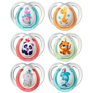 Tommee tippee 43335772 - 2 sucettes Fun en silicone (0-6 mois)