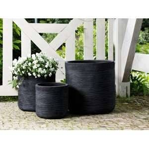 Beliani 3 cache-pots noirs Samos