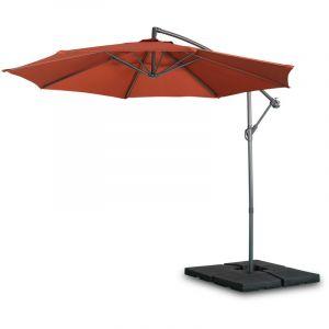 Alice's Garden Parasol déporté Rond Ø300cm - Hardelot - Terracotta - Manivelle Anti-Retour | Toile déperlante | Facile à Utiliser