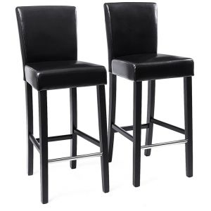Songmics 2x tabourets de bar en PU avec dossier chaise rembourrée noir LDC31B
