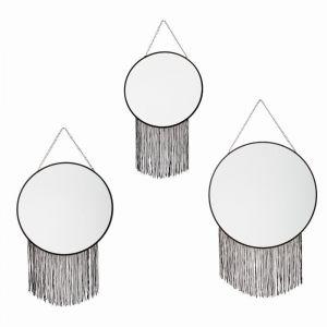Atmosphera Lot de 3 miroirs Frange Noir