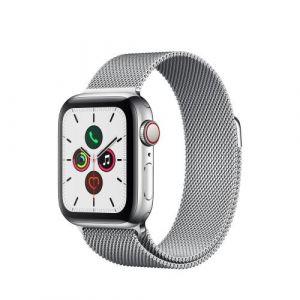 Apple Watch Watch Series 5 GPS + Cellular 40mm, Boitier Acier Inoxydable avec Bracelet Milanais