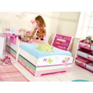 Room Studio Lit enfant  Papillons en bois avec rangement et étagère (77 x 145 cm)