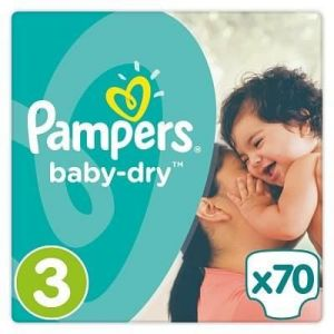 Pampers Baby Dry taille 3 Midi 5-9 kg - 70 couches