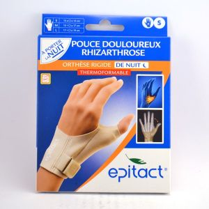 Epitact Orthèse rigide de nuit pour pouce main droite (Taille S)