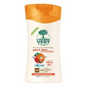 L'Arbre Vert Bain douche shampooing extra doux pour les enfants à la Pêche Bio