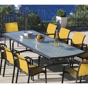 Vlaemynck Table de jardin rectangulaire Summer en aluminium et plateau en verre 210/270 x 110 x 76 cm