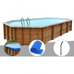 Sunbay Kit piscine bois Sevilla 8,72 x 4,72 x 1,46 m + Bâche hiver + Bâche à bulles + Douche