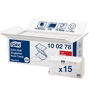 Tork 100278 Essuie-mains pliés en V Extra-Doux Premium / Compatible avec le système H3 / 2 plis / 15 x 200 feuilles