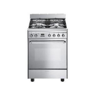 Smeg CP60X - Cuisinière gaz 4 brûleurs avec four électrique