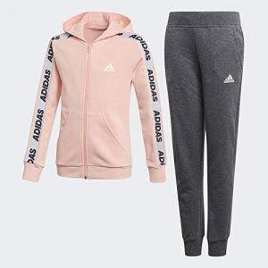 Adidas YG Hood COT TS Survêtement Fille, Glow Pink Medium Grey Heather/White, FR : S