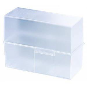 Han 975-73 - Boîte à fiches DIN A5, avec couvercle, pour 450 fiches, coloris bleu ciel transparent