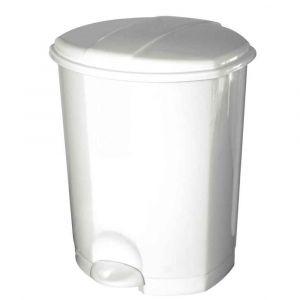 Poubelle pédale plastique blanc 30 litres
