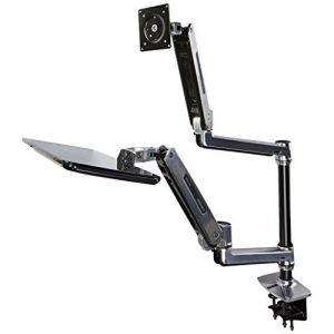 Ergotron WorkFit-LX Sit-Stand Desk Mount System - Kit de montage (bac, fixation par pince pour bureau, montage par passe-câble, poteau, repose-poignets, tiroir à clavier, bras pour moniteur, support de montage VESA, bras de clavier ajustable, 2 supports d