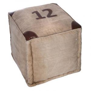 Pouf n éro 12 40 x 40 x 40 cm coton beige