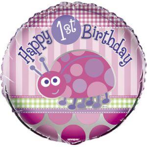 Unique Industries Inc Ballon aluminium Coccinelle 1er anniversaire fille (46 cm)