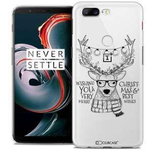 CaseInk Coque OnePlus 5T (6 ) Extra Fine Noël 2017 Cerf Hipster