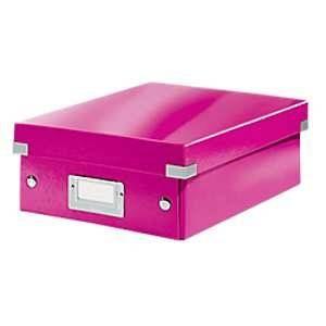Leitz 6057-00-23 - Boîte de rangement Click & Store, petit format avec compartiments, en PP, coloris rose métallique
