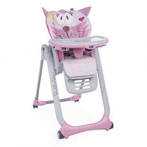 Chicco Chaise Haute Bébé Polly 2 Start 4 Roues Miss Pink - Réglable sur 8 Hauteurs